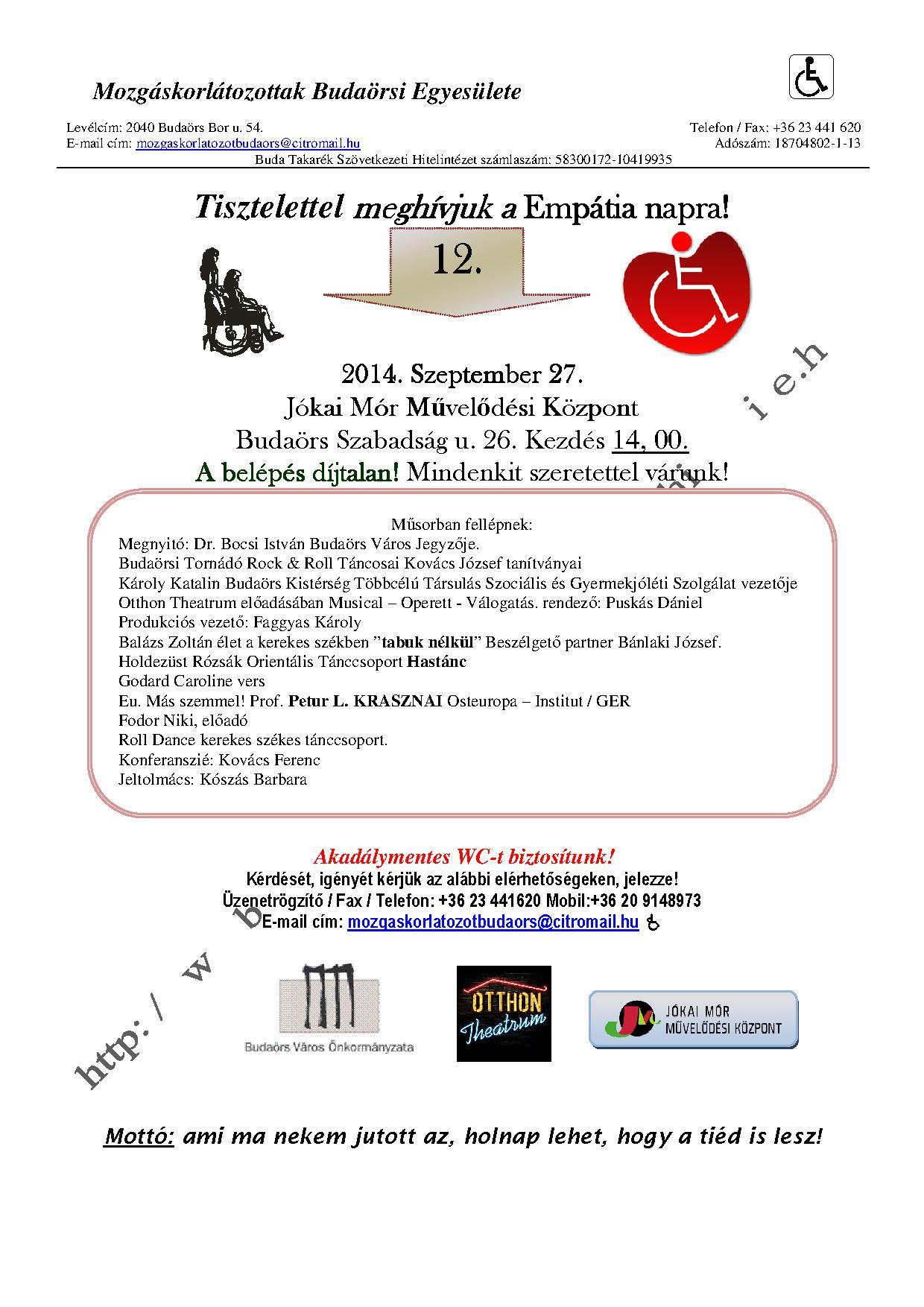 Emepátia meghívó plakát2014